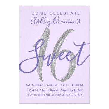 Small Elegant Purple Silver Sequin Glitter Sweet 16 Invitation Front View
