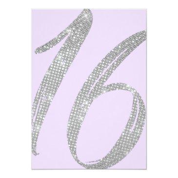Small Elegant Purple Silver Sequin Glitter Sweet 16 Invitation Back View