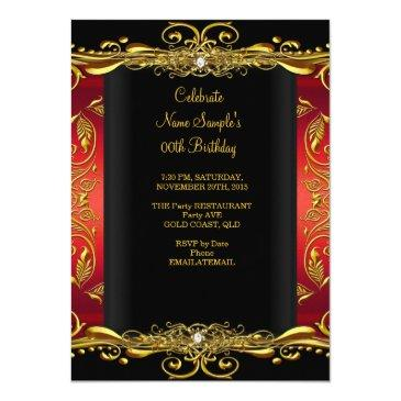 Small Elegant Regal Red Black Gold Queen Birthday Party Invitations Back View
