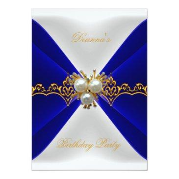 Small Elegant Royal Blue Birthday Gold Jewel White Silk Front View