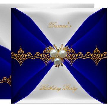 elegant royal blue birthday gold jewel white silk invitation