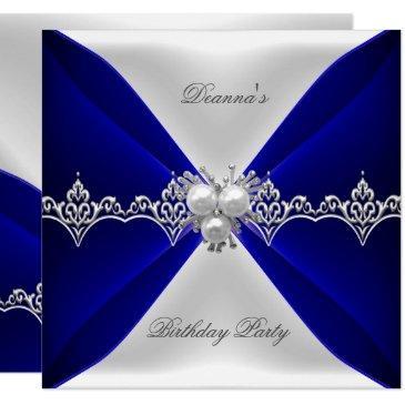 elegant royal blue birthday jewel white silk
