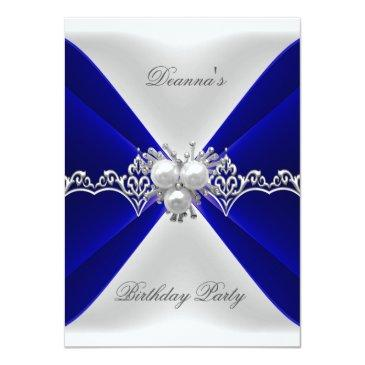 Small Elegant Royal Blue Birthday Jewel White Silk Invitation Front View