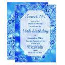 elegant royal blue teal faux glitter glam sweet 16 invitation