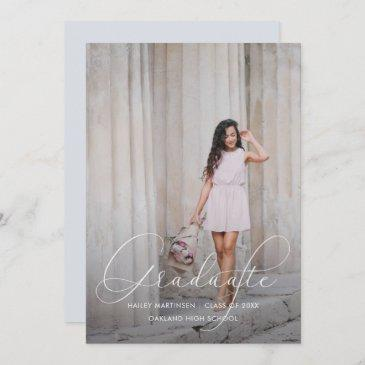 elegant script blue gray photo graduation party invitation