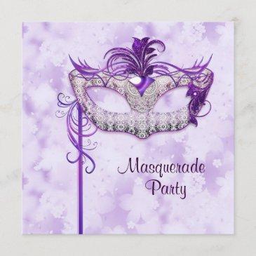 elegant silver purple masquerade party invitation