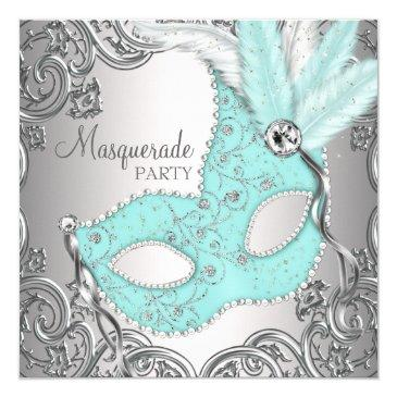 elegant silver teal blue masquerade party invitation