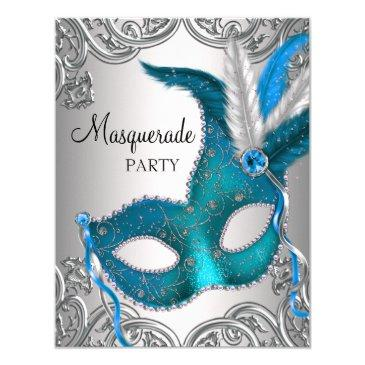 elegant silver teal blue masquerade party invitations