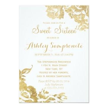 Small Elegant Simple Modern Rose Floral Gold Faux Print Invitations Front View