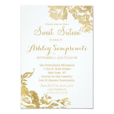 elegant simple modern rose floral gold sweet 16 invitation