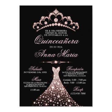elegant spanish quinceañera mis quince pink invitation