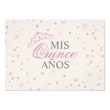 Small Elegant Spanish Quinceañera Mis Quince Pink Rose Invitation Back View