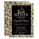 elegant stylish tiara,gold sequins sweet 16 part invitation