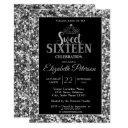 elegant stylish tiara,silver sequins sweet 16 part invitation