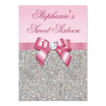 Small Elegant Sweet 16 Faux Silver Sequins Pink Bow Invitations Front View