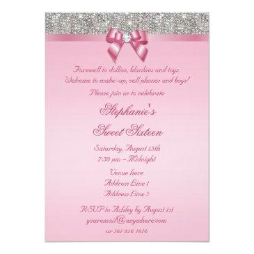 Small Elegant Sweet 16 Faux Silver Sequins Pink Bow Invitations Back View