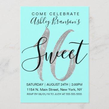 elegant teal silver sequin glitter sweet 16 invitation