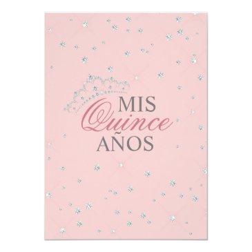 Small Elegant Watercolor Pink Spanish Quinceañera Quince Invitation Back View