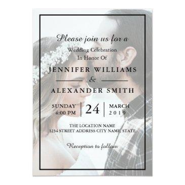 Small Elegant White & Black Photo Wedding Invitation Front View