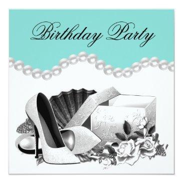 elegant white rose teal blue birthday party