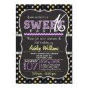 elegant yellow and purple stars sweet 16 party invitations