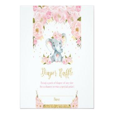 Small Elephant Floral Baby Shower Diaper Raffle Invitations Front View