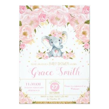 Small Elephant Floral Baby Shower Invitation Girl Front View