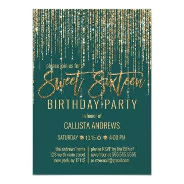 Small Emerald Green Gold Glitter Fringe Curtain Sweet 16 Invitation Front View