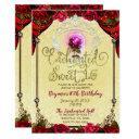 enchanted magical rose beauty birthday sweet 16 invitation