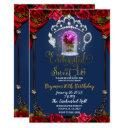 enchanted rose beauty sweet 16 party blue gold invitation
