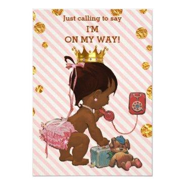Small Ethnic Princess On Phone Gold Confetti Baby Shower Invitations Front View