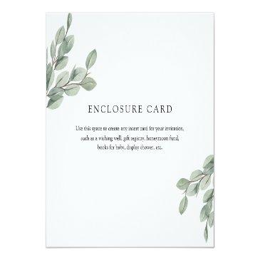 Small Eucalyptus Branch Enclosure Invitations Front View