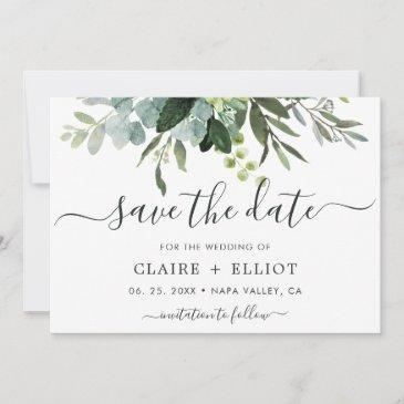 eucalyptus green foliage save the date invitations