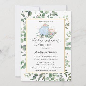 eucalyptus greenery high tea party baby shower invitation