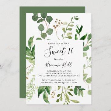 eucalyptus simple floral sweet 16 birthday party invitation