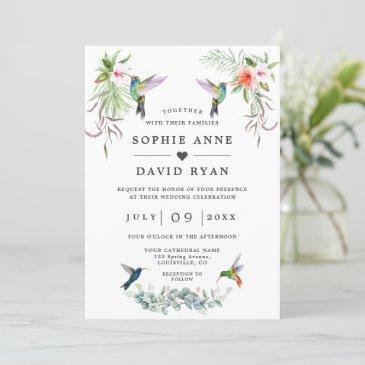 exotic hummingbirds eucalyptus all in one wedding invitation