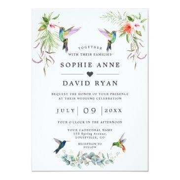 Small Exotic Hummingbirds Eucalyptus All In One Wedding Invitation Front View