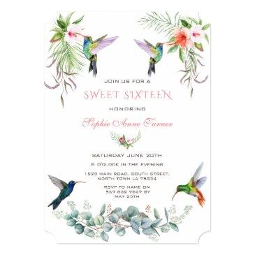 Small Exotic Pink Hibiscus Humming Birds Sweet Sixteen Invitation Front View