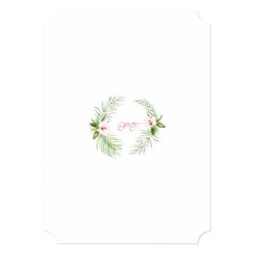 Small Exotic Pink Hibiscus Humming Birds Sweet Sixteen Invitation Back View