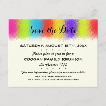 eye catching reunion, party or event save the date announcement postinvitations