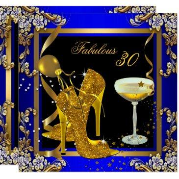 fabulous 30 royal blue gold birthday party invitations