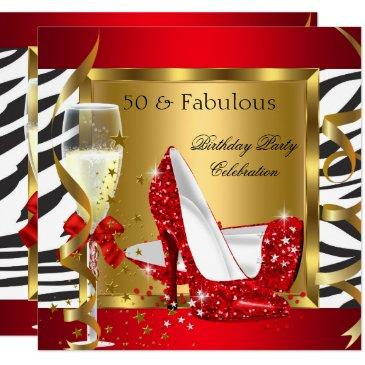 fabulous 50 red glitter high heel zebra champagne invitation