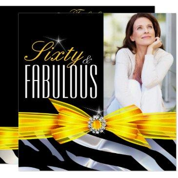 fabulous 60 photo yellow zebra black birthday invitations