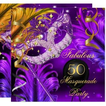 fabulous birthday purple gold masquerade party 2 invitations