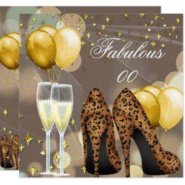 fabulous gold beige leopard champagne party invitation
