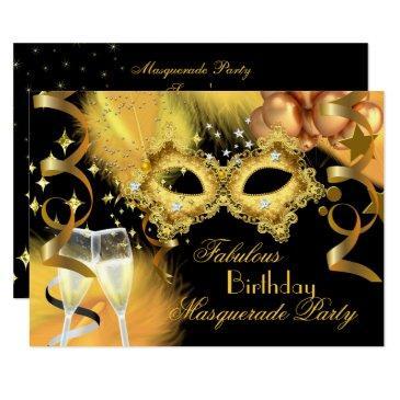 fabulous gold black masquerade birthday party invitations