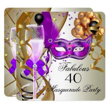 fabulous purple gold cream black masquerade party invitation