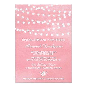 Small Fairy Lights Pink Sweet Sixteen Party Invitation Front View