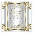 fairytale sweet 16 16th birthday gold silver 2 invitations