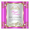 fairytale sweet 16 16th birthday hot pink invitations
